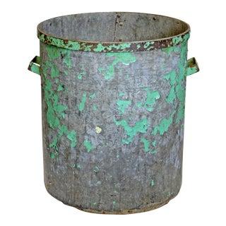 Vintage Green Metal Factory Bin For Sale