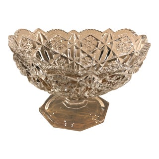 Vintage Press Cut Clear Footed Vase / Fruit Bowl Clear Glass Urn for Flowers Trinkets For Sale