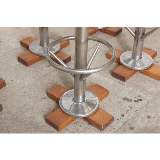 1960s Set of Five Belgium Revolving Barstools, 1960s For Sale - Image 5 of 11
