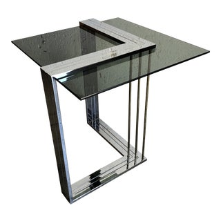 Vintage 1970s Chrome and Brass Side Table in the Romeo Rega Style. For Sale