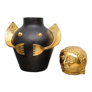 Giant-Sized Italian Ceramic Lidded Amphora