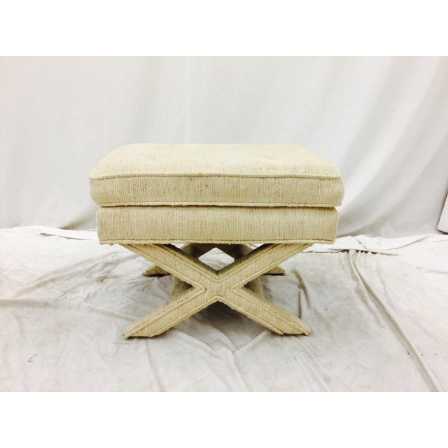 Vintage mid-modern Hollywood Regency style cross bench. Fully upholstered cushion top with corded detail and classic X...