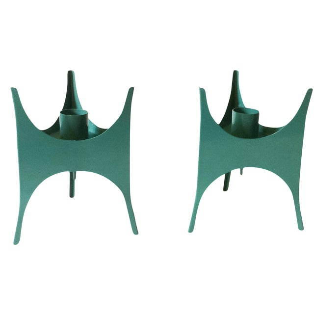 MCM Teal Metal Candlesticks - A Pair - Image 1 of 5