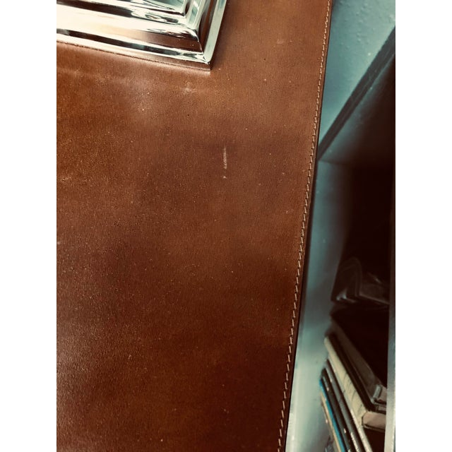 Made Goods Tobacco Leather Nightstand For Sale In Los Angeles - Image 6 of 7
