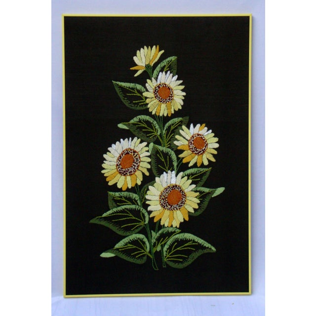 Vintage Sunflowers Original Needlepoint Art - Image 2 of 8
