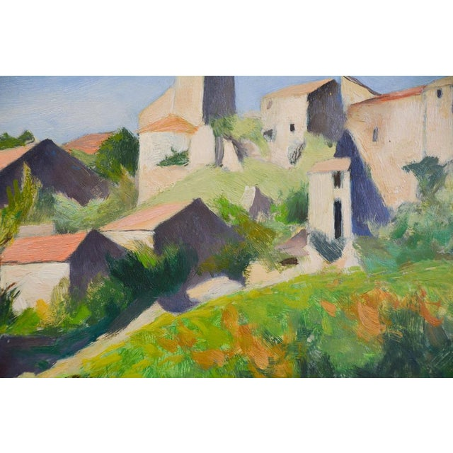 Mid 20th Century French Countryside Landscape Oil Painting - Hillside in Provence For Sale - Image 5 of 9