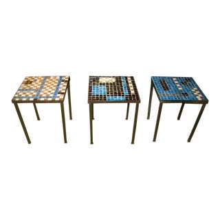 1950s Mid-Century Modern Richard Hohenberg Mosaic Tile Tables - Set of 3 For Sale