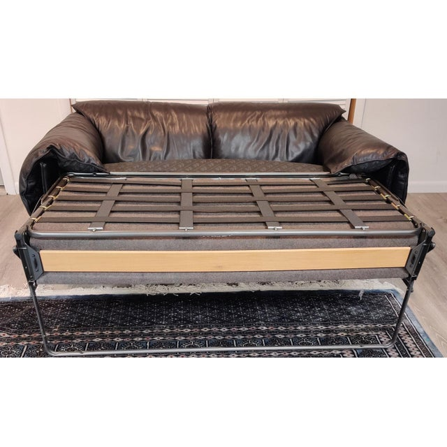 Black Vintage Niels Eilersen Leather Convertible Couch Sofa For Sale - Image 8 of 13