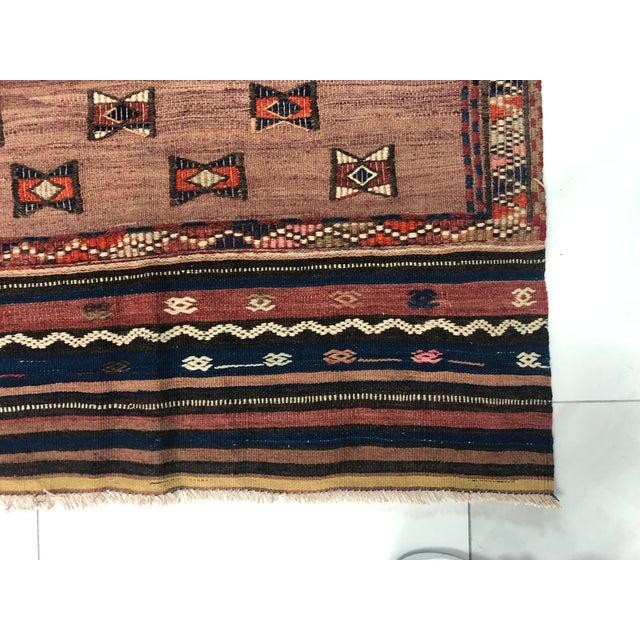 Brick Red Turkish Handwoven Vintage Kilim Rug - 3′8″ × 4′10″ For Sale - Image 8 of 11