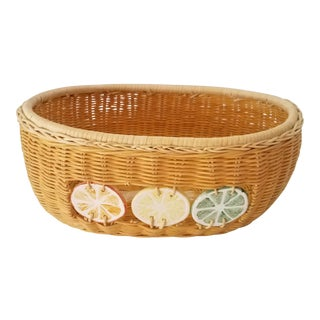 Lime Lemon Orange Weaved Fruit Basket For Sale