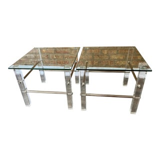 1940s Lucite & Chrome Side Tables - a Pair For Sale