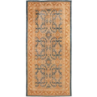 Antique Mahal Traditional Blue and Gold Wool Rug - 7′ × 14′7″ For Sale