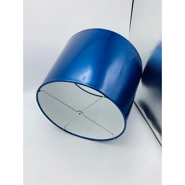 Custom Metallic Blue Vinyl Lampshade For Sale - Image 4 of 8
