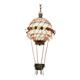 Hollywood Regency/ Art Deco Period Maison Bagues Beaded Crystal Hot Air Balloon Chandelier - From Jackie Gleason Estate Miami Beach For Sale