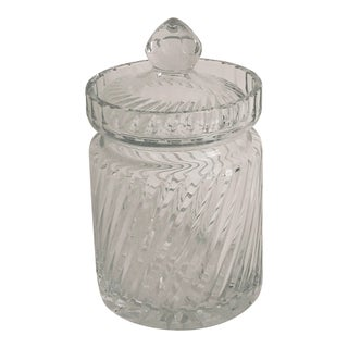 Mid-Century Crystal Biscuit Jar For Sale