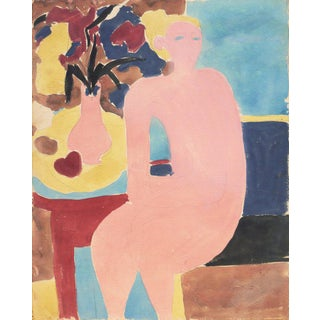 1955 Victor DI Gesu Seated Nude Painting Preview