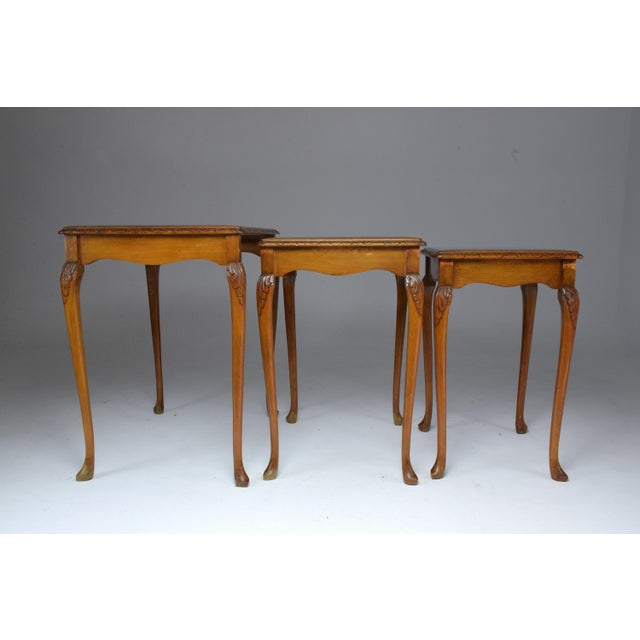 Three French Vintage Bookmatch Nesting Tables, 1960s-1970s For Sale - Image 12 of 13