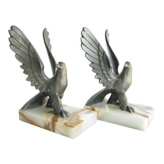 1930s Art Deco Bronze Eagle on Onyx Base Bookend by Frankart - a Pair For Sale