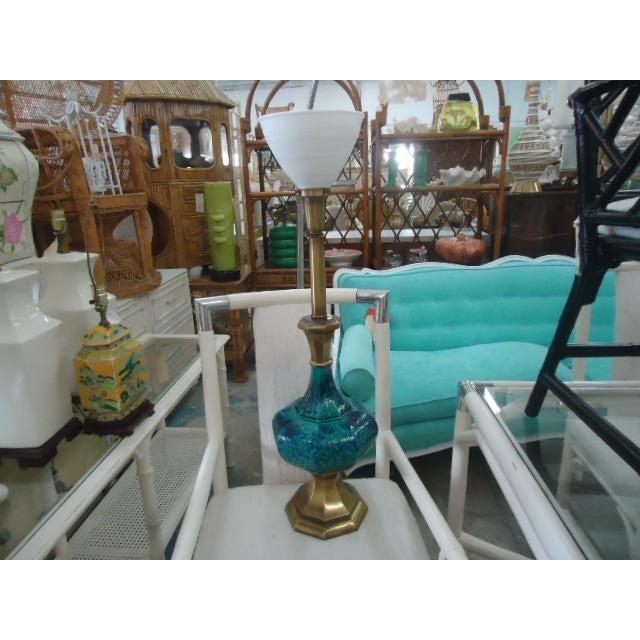 Mid-Century Turquoise Glazed Lamp - Image 8 of 9
