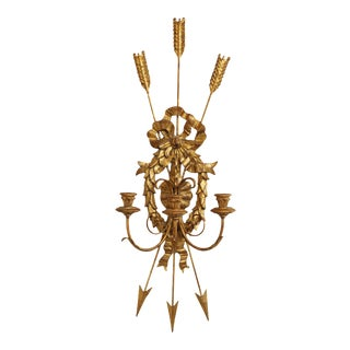 Neo Classical Style Gilt Wood & Metal Crussed Arrows 3 Candle Wall Sconce For Sale