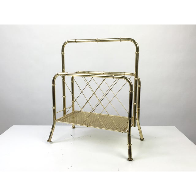 Faux Bamboo Hollywood Regency Faux Bamboo Brass Magazine Rack For Sale - Image 7 of 7