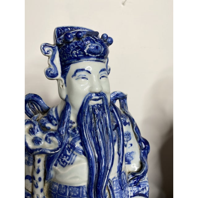 Truly exceptional pair of signed vintage expertly hand sculpted and painted figures of the Chinese Gods of the Three Stars...