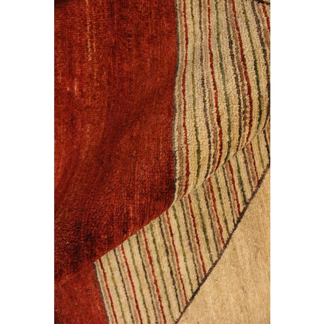 1990s Shabby Chic Gabbeh Peshawar Karol Tan/Red Hand-Knotted Wool Rug -2'11 X 5'1 For Sale - Image 5 of 8