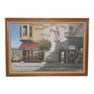 "Vintage San Francisco ""Cafe Latini"" Oil Painting For Sale"