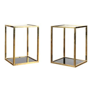 Mid Century Brass Drink Tables - a Pair For Sale
