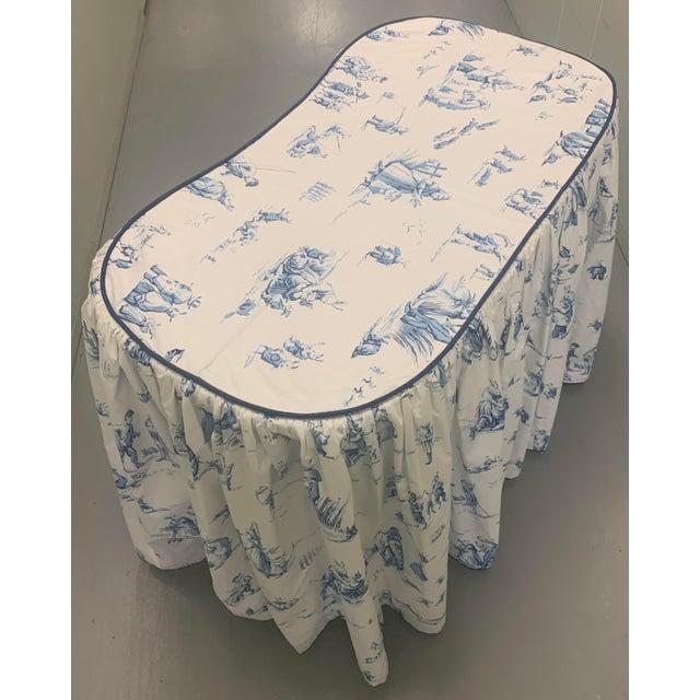 Brunschwig & Fils Custom Brunschwig & Fils Fabric Skirted Vanity Table For Sale - Image 4 of 12