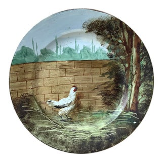 1890 French Faience Plate With Hen, Signed Choisy Le Roi For Sale