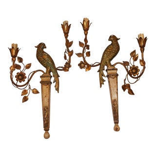 1940s Hollywood Regency Maison Bagues Giltwood & Dore Metal Opposing Face Parrot Sconces - a Pair For Sale