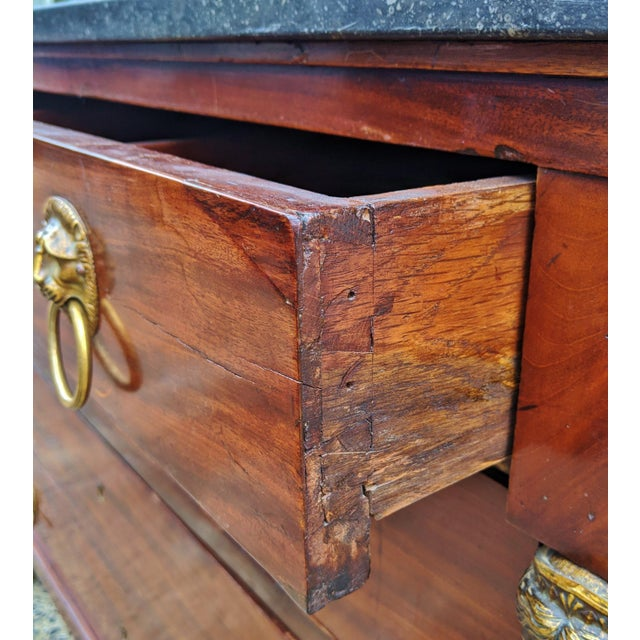 19th Century French Empire Marble Top Bronze Mounted Commode For Sale - Image 9 of 13