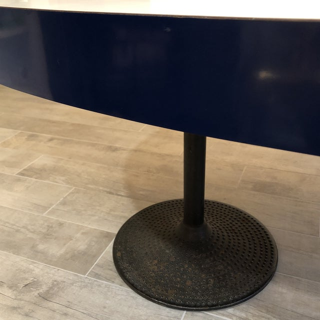 ICF Milano Contemporary ICF Blue & White Oval Table With Metal Base For Sale - Image 4 of 13