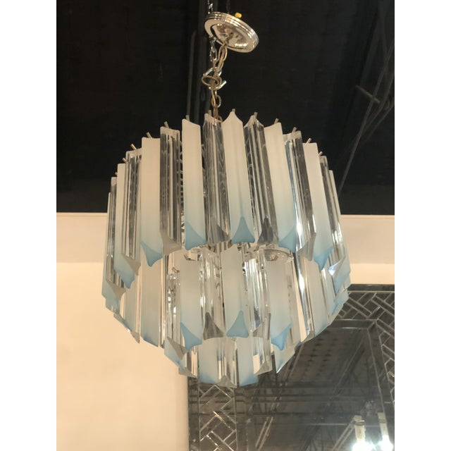 Vintage Hollywood Regency Aqua Blue Lucite Chandelier For Sale - Image 9 of 11