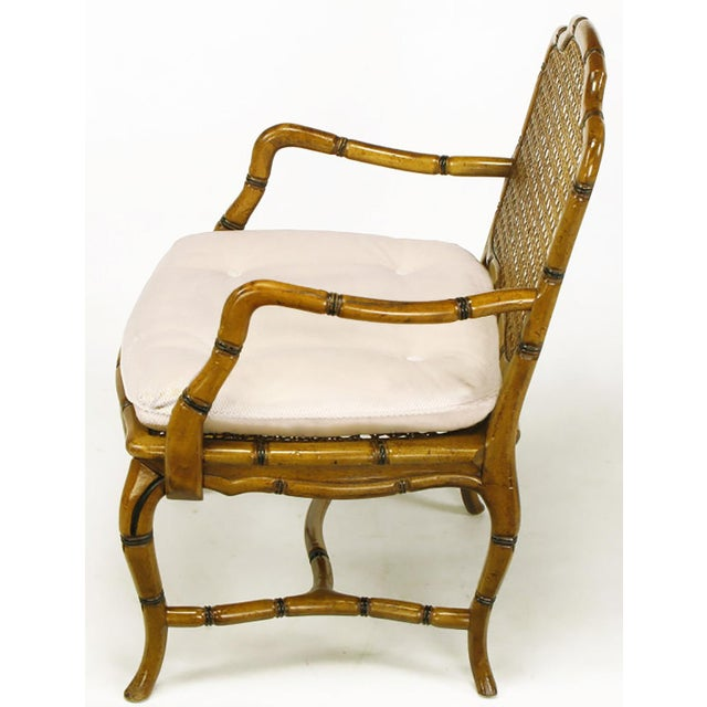 1960s Bamboo-Form Cabriole Leg Cane Back Armchair For Sale - Image 5 of 9