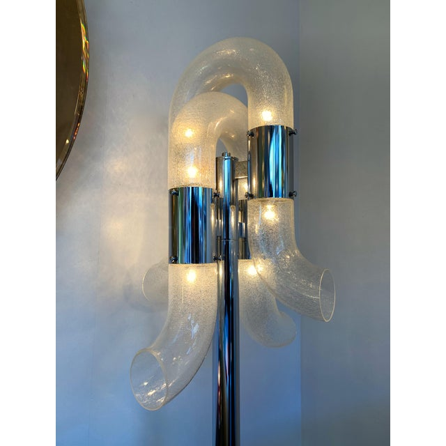Metal Floor Lamp Metal Chrome Murano Glass by Aldo Nason for Mazzega, Italy, 1970s For Sale - Image 7 of 13