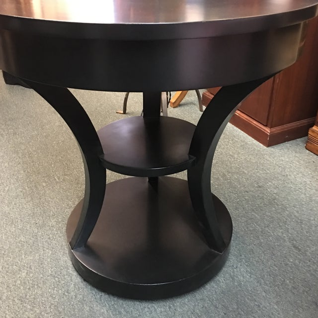 Round Black Lacquered Side Table - Image 7 of 8
