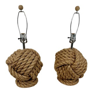 Pottery Barn Rope Knot Table Lamps - a Pair For Sale