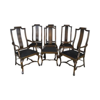 Provincial Style Italian Walnut Set 6 Custom Quality Dining Chairs For Sale