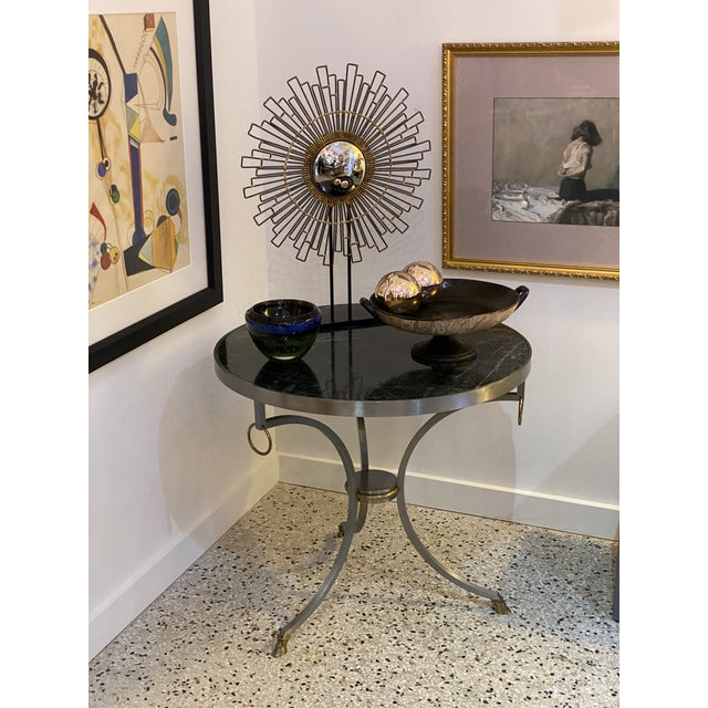 Mid-Century Maison Jansen Attributed Louis XVI Style Gueridon Side Table in Steel, Brass and Verdigreen Marble For Sale - Image 12 of 13