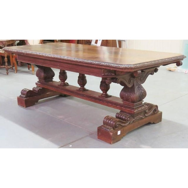 19th Century Carved Walnut Dining Table - Image 2 of 10