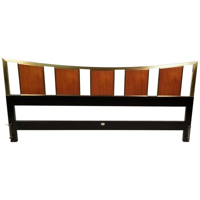 Brass King Size Headboard With Framed Teak Panels Designed by Michael Taylor for Baker For Sale In Dallas - Image 6 of 6