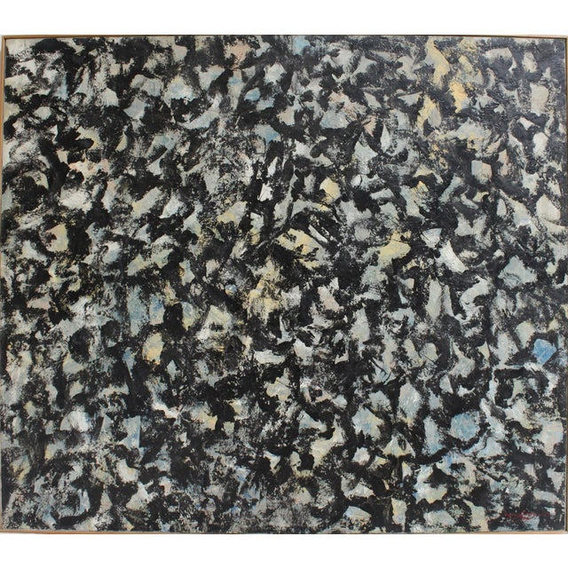 Large Abstract Expressionist Painting in Black and Green by Artist Jacques Lamy - Image 3 of 8