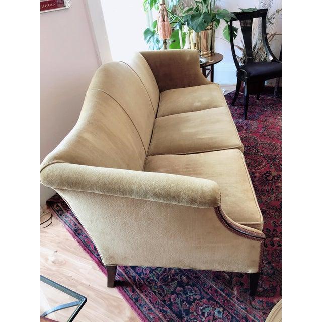 Vintage Tobacco Color Velvet Camel Back Sofa For Sale - Image 9 of 10
