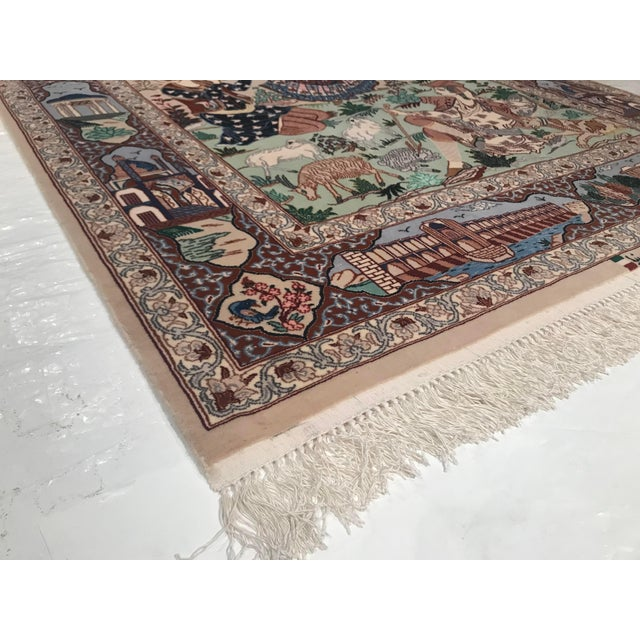 Original Persian Isfahan Handmade Hand-knotted in Isfahan Iran. Silk foundation. Koeker Wool and Silk on a silk...