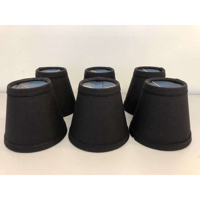 Black English Traditional Black Linen Lamp Shades - Set of 6 For Sale - Image 8 of 8