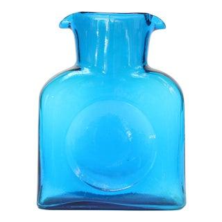 Vintage Blown Glass Turquoise Double Spout Pitcher by Blenko