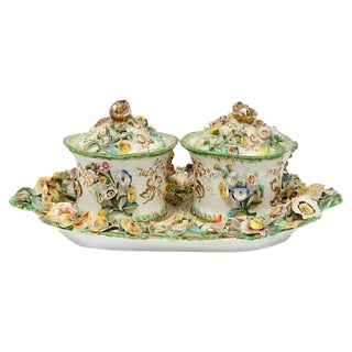 Antique French Porcelain Double Inkwells & Tray - Set of 3