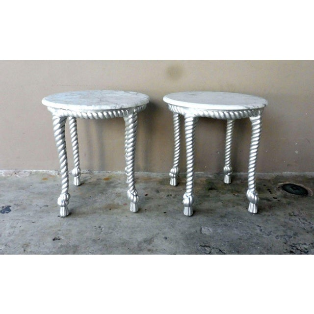 1970s Vintage Hollywood Regency Style Marble Topped Tables - a Pair For Sale - Image 9 of 9